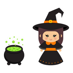 cartoon cute witch with cauldron