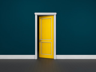 Opened door in a blue room. Chromatic image. 3d Illustration