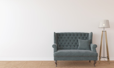 Empty interior with white wall, sofa and lamp