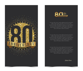 80th anniversary card with gold elements. Vector illustration.