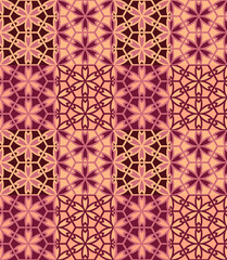 Seamless pattern tiled ornament. Floral textile print. Islamic vector design. Oriental background with abstract flowers. Hexagonal patchwork swatch. Stained glass vitrage.