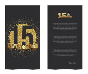 15th anniversary card with gold elements. Vector illustration.
