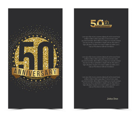 50th anniversary card with gold elements. Vector illustration.