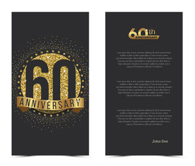 60th anniversary card with gold elements. Vector illustration.