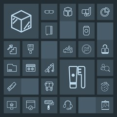 Modern, simple, dark vector icon set with frame, container, web, reel, property, estate, speed, blank, headset, fishing, product, can, box, computer, rocket, account, saw, bus, care, space, call icons