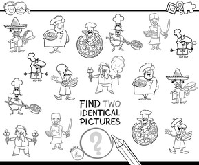 find two identical chefs coloring book