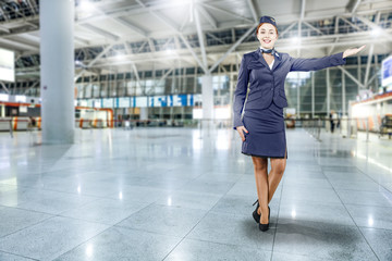 stewardess and airport