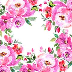 Watercolor floral frame. Pink peonies border. Painting flowers.