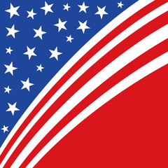 An abstract american patriotic illustration of diagonal stripes and stars in red and blue on an isolated white background