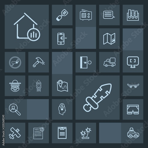 Modern Simple Dark Vector Icon Set With Internet Medieval Road