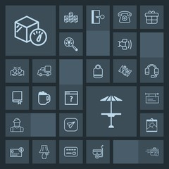 Modern, simple, dark vector icon set with construction, worker, poster, builder, engineer, table, water, technology, card, balance, box, credit, bank, communication, summer, telephone, person icons