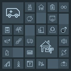 Modern, simple, dark vector icon set with medical, emergency, technology, button, page, calculator, chess, photography, mobile, rent, rod, chessboard, house, strategy, home, property, car, game icons