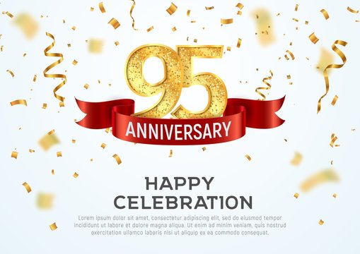 95 years anniversary vector banner template. Ninety-five year jubilee with red ribbon and confetti on white background