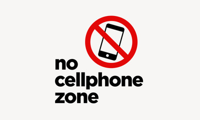 No Cellphone Zone Sticker Sign in Flat Modern Style Design