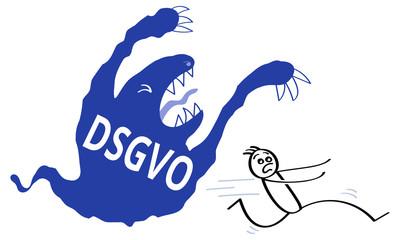 Schreckgespenst DSGVO, Datenschutzgrundverordnung, Strichmännchen,
