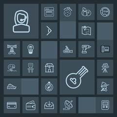 Modern, simple, dark vector icon set with money, camera, card, bbq, technology, boat, tripod, call, plastic, musical, business, barbecue, office, arrow, web, north, instrument, travel, road, map icons