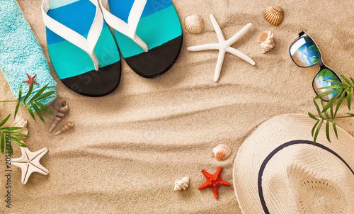 3eed02faa4906 Sea Shells on Sand. Summer Beach Background