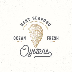 Ocean Fresh Oysters Abstract Vector Sign, Symbol or Logo Template. Hand Drawn Shellfish Mollusc with Premium Retro Typography. Vintage Vector Emblem Concept.