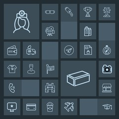 Modern, simple, dark vector icon set with building, house, computer, shop, curtain, quad, cell, college, construction, doctor, brick, technology, healthcare, business, education, real, medical icons