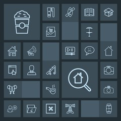 Modern, simple, dark vector icon set with equipment, profile, watch, clock, reel, estate, pub, online, radio, hand, real, coffee, tobacco, handle, male, technology, retro, camera, classic, drink icons