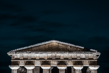 Background with greek columns, symbol of democracy wit copy space