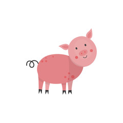 Cute pink pig with twisted tail hand drawn smiling character icon. Farm animal, livestock used for pork meat. Rural mammal. Vector flat isolated illustration