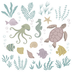 Set of sea animals and seaweed. Vector illustration.