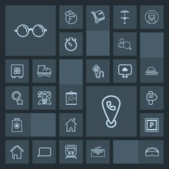 Modern, simple, dark vector icon set with road, location, technology, picture, frame, direction, transport, vintage, work, eyeglasses, building, laptop, blank, glasses, house, estate, computer icons