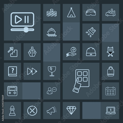 Modern, simple, dark vector icon set with button, video, computer