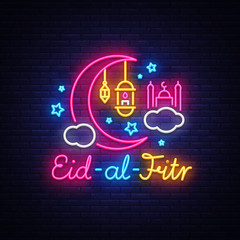 Eid-Al-Fitr festive card design template in modern trend style. Neon style, Islamic and Arabic background for the holiday of the Muslim community. Ramadan Kareem Light banner. Vector illustration