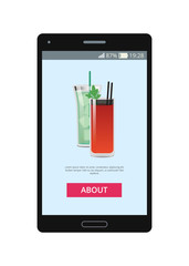 Two Cocktails Pictures on Smartphone s Display