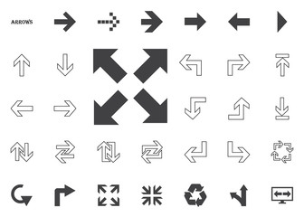 All directions bold arrows. Arrow vector illustration icons set.