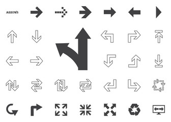 Straight and left direction arrow. Arrow vector illustration icons set.