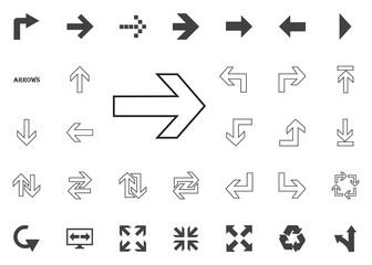 Right arrow icon. Arrow vector illustration icons set.