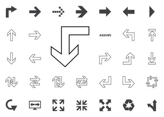 Back to the down arrow icon. Arrow vector illustration icons set.
