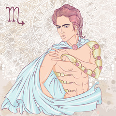 Zodiac. Vector illustration of the astrological sign of Scorpio as a man with a naked torso. The illustration on decorative grunge background in retro colors