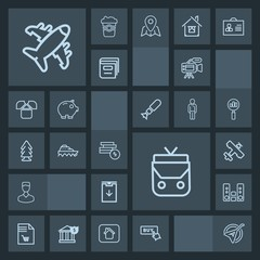 Modern, simple, dark vector icon set with download, bag, avatar, video, transport, instrument, business, travel, leather, shopping, folk, play, plane, flight, buy, sea, camera, sound, nature icons