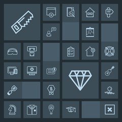 Modern, simple, dark vector icon set with hammer, horse, concert, sunrise, sound, achievement, crystal, kitchen, picture, sign, nature, musical, blank, landscape, jewelry, construction, guitar icons
