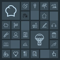 Modern, simple, dark vector icon set with button, zoom, architecture, picture, sky, touch, parachute, house, dolphin, click, television, web, construction, appliance, animal, jump, sign, chief icons