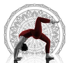 Woman In Urdhva Dhanurasana Yoga Pose on mandala background