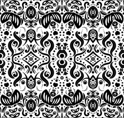 Abstract seamless pattern with flowers and dots