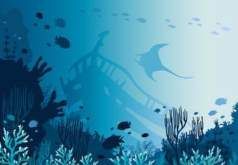 Coral reef, sunken ship, manta and underwater sea.