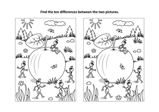Find the ten differences picture puzzle and coloring page with ripe apple lying on the ground and five busy ants planning what to do with it