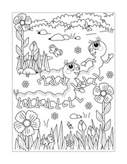 Spring or summer joy themed coloring page with caterpillars, flowers, grass.