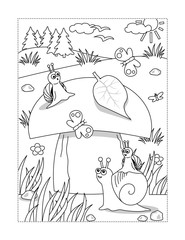 Summer or autumn joy themed coloring page with big yummy mushroom and mom and kids snails.