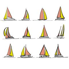 Colored sailboat drawings