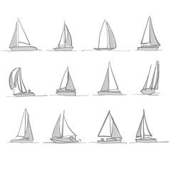 Sailing boat drawings