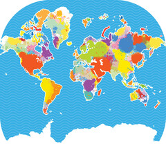Colorful world map with vector splatters