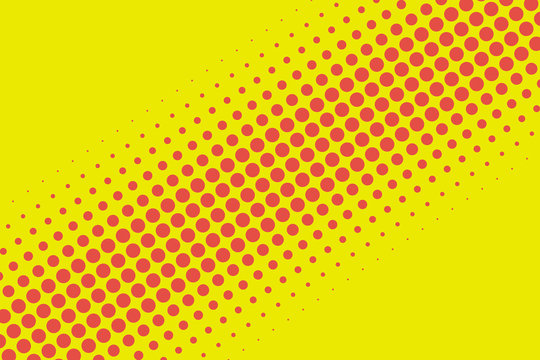 Retro red and yellow comic style halftone pattern spot background texture