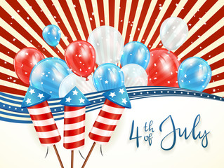 Independence day abstract background with balloons
